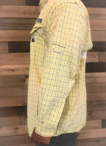 Men's Yellow Plaid Long Sleeve COLUMBIA Shirt