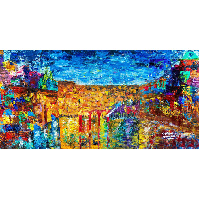 Jewish Art - THE JERUSALEM SKYLINE - Large Canvas Giclée print - Israel painting - Judaica Art - Modern Jewish Art - Giclée Fine Art Giclée Print Canvas - Without Pasuk - sharon-schurder-art