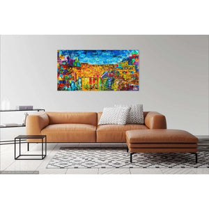 Jewish Art - THE JERUSALEM SKYLINE - Large Canvas Giclée print - Israel painting - Judaica Art - Modern Jewish Art - Giclée Fine Art Giclée Print Canvas - With Pasuk - sharon-schurder-art