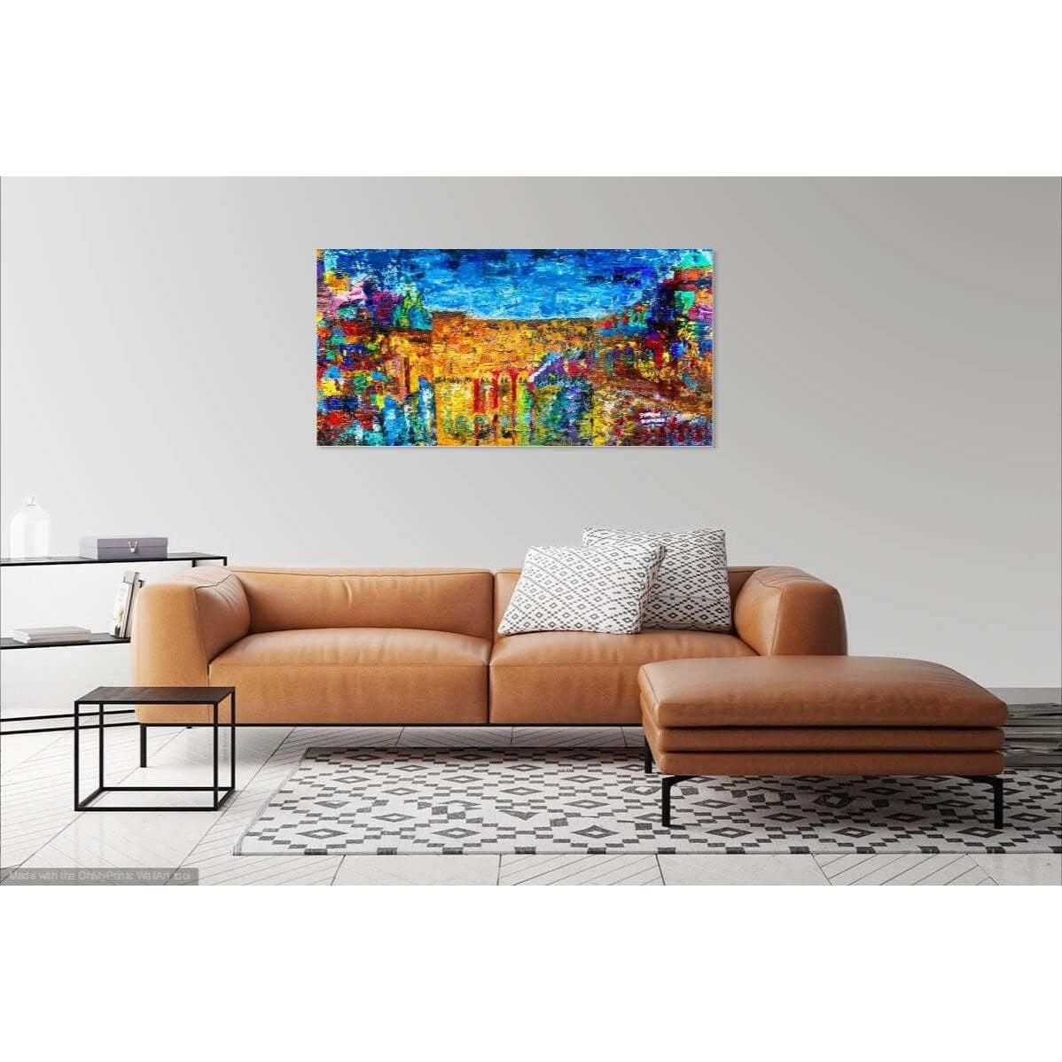 Jewish Art - THE JERUSALEM SKYLINE - Large Canvas Giclée print - Israel painting - Judaica Art - Modern Jewish Art - Giclée Fine Art Giclée Print Canvas - Without Pasuk - sharonschurderart - jewish_art, jewish_wall_art, judaica_art