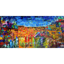 Load image into Gallery viewer, Jewish Art - THE JERUSALEM SKYLINE - Large Canvas Giclée print - Israel painting - Judaica Art - Modern Jewish Art - Giclée Fine Art Giclée Print Canvas - With Pasuk - sharon-schurder-art