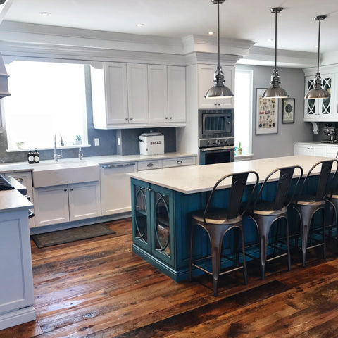 Kitchen island, bar stools, kitchen sink, cabinetry
