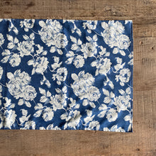 Load image into Gallery viewer, Dark Blue & White Vintage Floral Table Runner