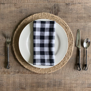 Red/Black & White/Black Buffalo Plaid Cloth Dinner Napkins - Set of 6