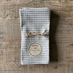 Grey Checker Cloth Dinner Napkins - Set of 4