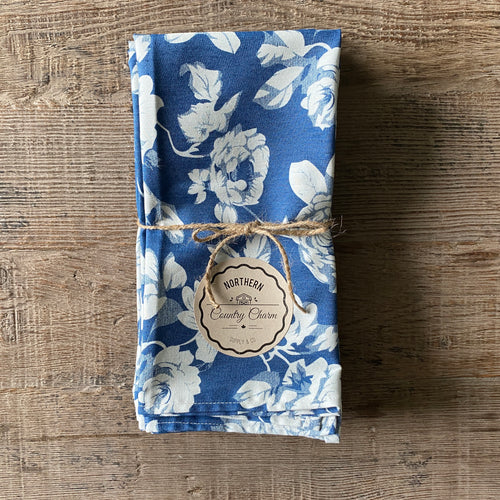 Dark Blue and White Vintage Floral Cloth Dinner Napkins - Set of 6