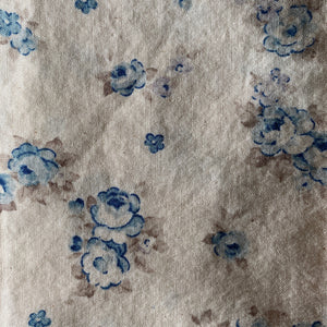 Beige and Blue Vintage Floral Cloth Dinner Napkins - Set of 6