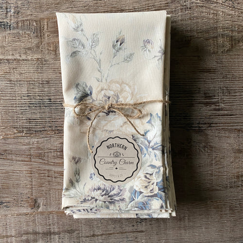 Mauve and Beige Vintage Floral Cloth Dinner Napkins - Set of 6