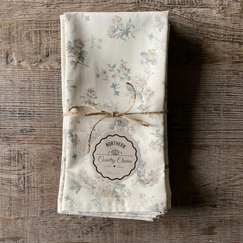 Dusty Rose Vintage Floral Cloth Dinner Napkins - Set of 6