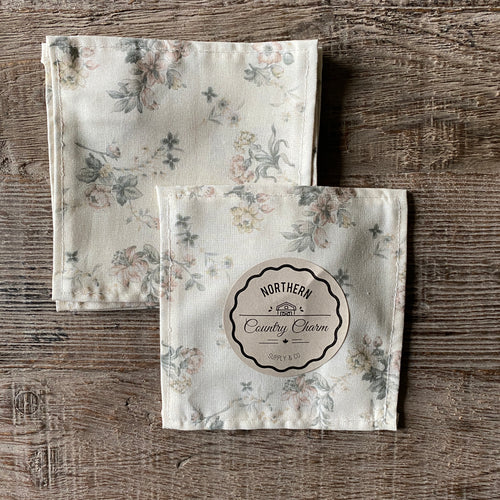 Dusty Rose Vintage Floral Cloth Cocktail Napkins - Set of 6
