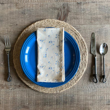 Load image into Gallery viewer, Beige and Blue Vintage Floral with Polka Dots Cloth Dinner Napkins - Set of 4