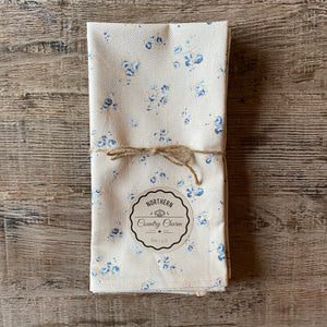 Beige and Blue Vintage Floral with Polka Dots Cloth Dinner Napkins - Set of 4
