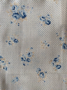 Beige and Blue Vintage Floral with Polka Dots Cloth Cocktail Napkins - Set of 6