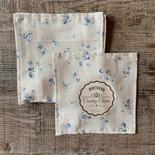 Load image into Gallery viewer, Beige and Blue Vintage Floral with Polka Dots Cloth Cocktail Napkins - Set of 6