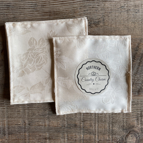 Champagne Vintage Floral Cloth Cocktail Napkins - Set of 6