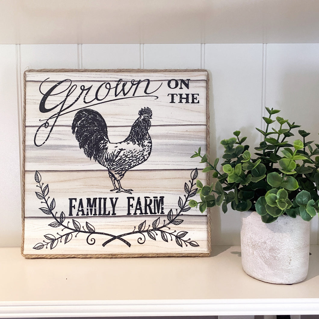 Grown on the Family Farm Farmhouse Canvas Print