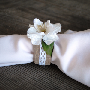 Lace Floral Napkin Ring Sets