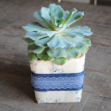 Load image into Gallery viewer, Cream and Vintage Blue Floral with Blue Lace Vase/Flower Pot