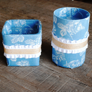 Blue Denim/White Floral and Ruffle Vase/Flower Pot