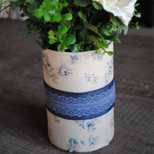 Cream and Vintage Blue Floral with Blue Lace Vase/Flower Pot