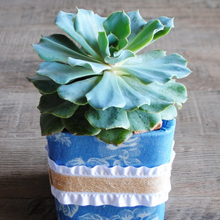 Load image into Gallery viewer, Blue Denim/White Floral and Ruffle Vase/Flower Pot