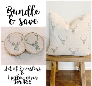 Bundle & Save - Matching Pillow & Coaster Set