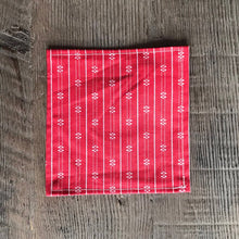 Load image into Gallery viewer, Red Scandinavian Pattern Cloth Cocktail Napkin - Set of 6