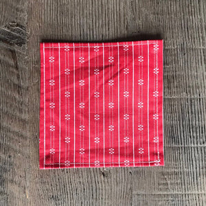 Red Scandinavian Pattern Cloth Cocktail Napkin - Set of 6