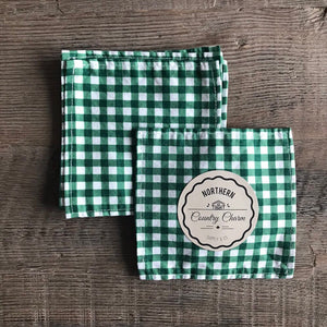 Green Checker Cloth Cocktail Napkins - Set of 6