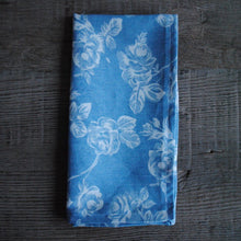 Load image into Gallery viewer, Blue Denim/White Floral Cloth Dinner Napkins
