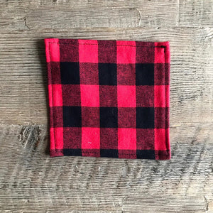 Red Buffalo Plaid Cloth Cocktail Napkin - Set of 4