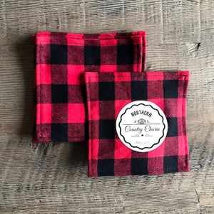 Red Buffalo Plaid Cloth Cocktail Napkin - Set of 6