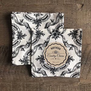 White With Black Country Floral Cloth Cocktail Napkin - Set of 6