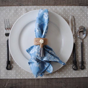 Blue Denim/White Floral Cloth Dinner Napkins