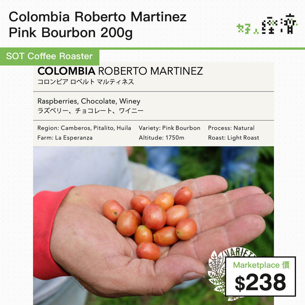 SOT Coffee Roaster - Colombia Roberto Martinez Pink Bourbon 200g