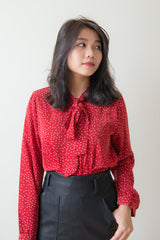 Belinda Polka Dot Ribbon Collar Top (Red)