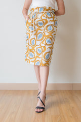 Tatiana Leaf Prints Paperbag Skirt With Rope Belt (Yellow)