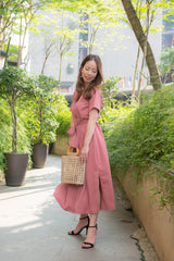 Norinne Button Down Midi Dress (Pink)