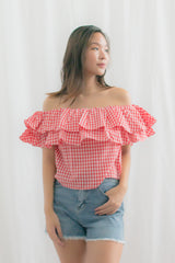 Dahlia Gingham Off Shoulder Top (Red)