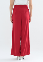 Load image into Gallery viewer, Hibiscus Wide Leg Pants with Buttons (Red)