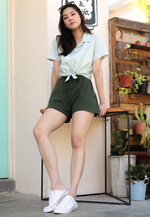 Load image into Gallery viewer, Weylie Button Down Self Tie Top (Green)