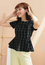 Load image into Gallery viewer, Empathy Checkered Peplum Top (Navy)