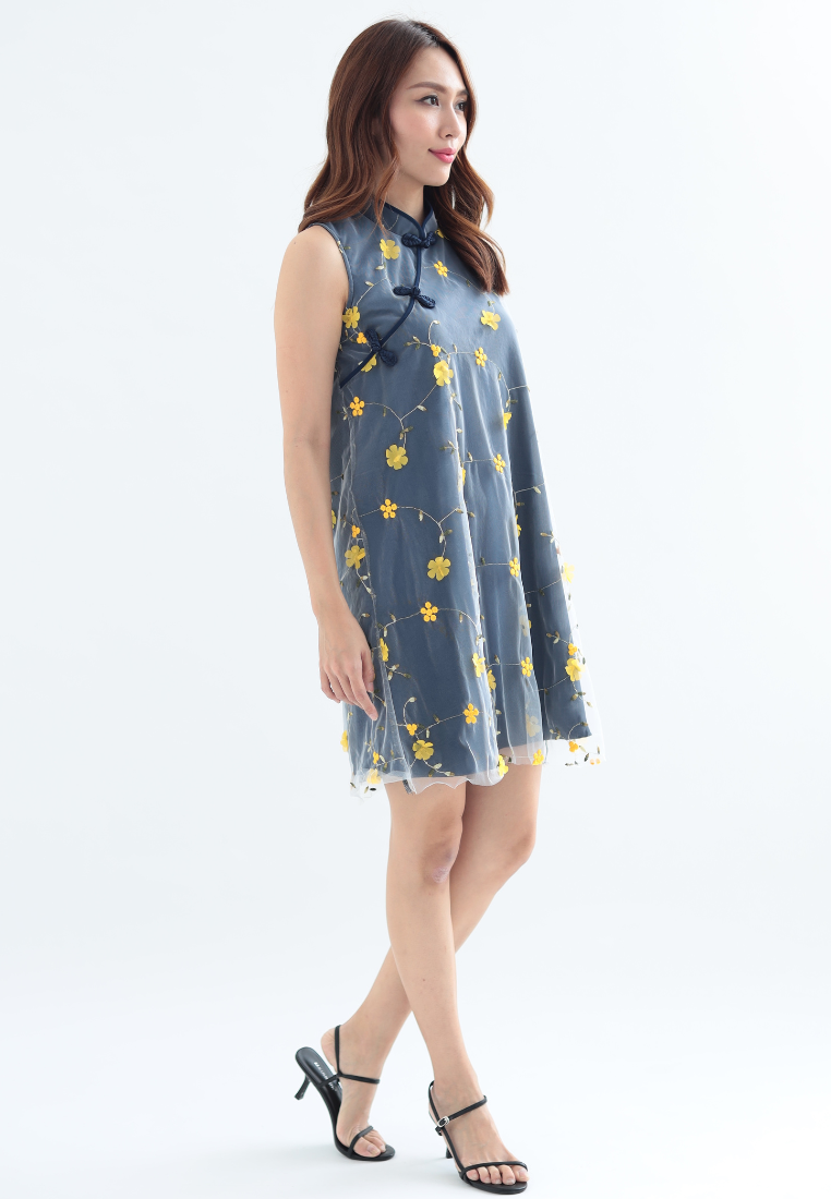 Carnation A-Line Qipao Dress (Navy)