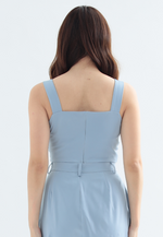 Load image into Gallery viewer, Freesia Front Ruffle Crop Top (Blue)