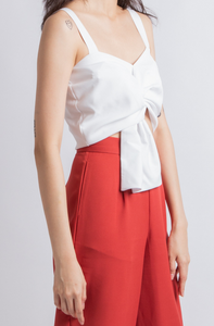 Anissa Knotted Crop Top (White)