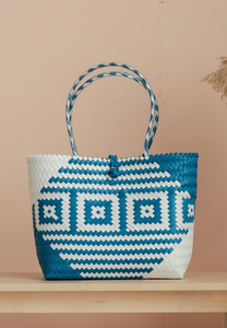 [BACKORDER] Borneo Square Hand Woven Bag (White and Blue)