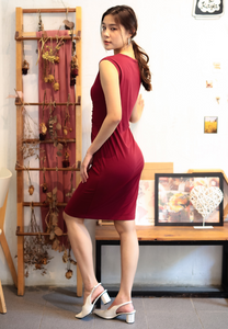 Lively Knot Bodycon Dress (Maroon)