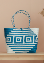 Load image into Gallery viewer, [BACKORDER] Borneo Square Hand Woven Bag (White and Blue)