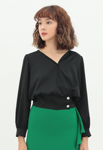 Load image into Gallery viewer, Passion Long Sleeve Satin Top (Black)