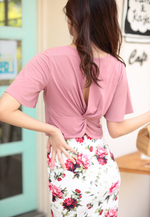 Load image into Gallery viewer, Marion Flare Sleeves Back Knot Top (Pink)
